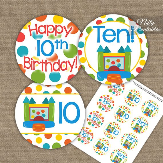 10th Birthday Toppers - Bounce House Birthday Cupcake Toppers