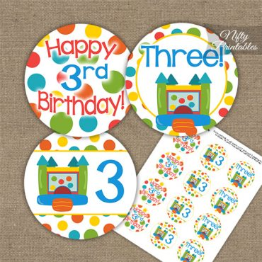 3rd Birthday Toppers - Bounce House Birthday Cupcake Toppers
