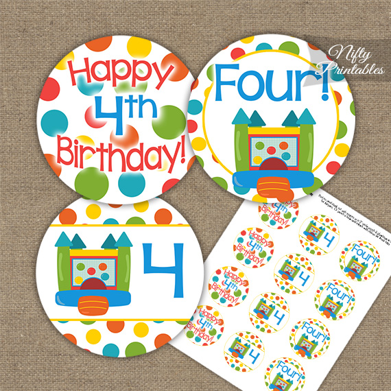 4th Birthday Toppers Bounce House Cupcake