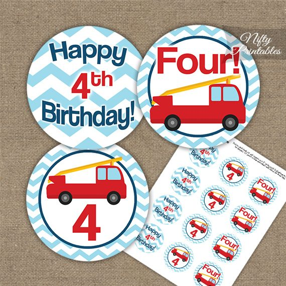 4th Birthday Toppers - Fire Truck Birthday Cupcake Toppers