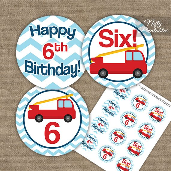 6th Birthday Toppers - Fire Truck Birthday Cupcake Toppers