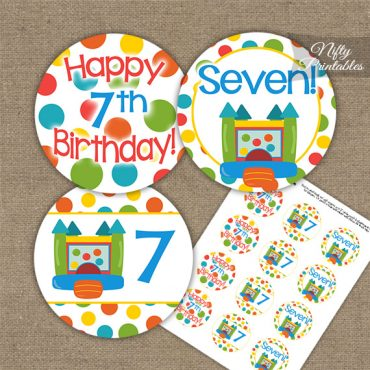 7th Birthday Toppers - Bounce House Birthday Cupcake Toppers