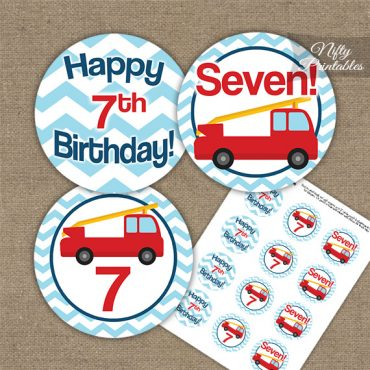 7th Birthday Toppers - Fire Truck Birthday Cupcake Toppers