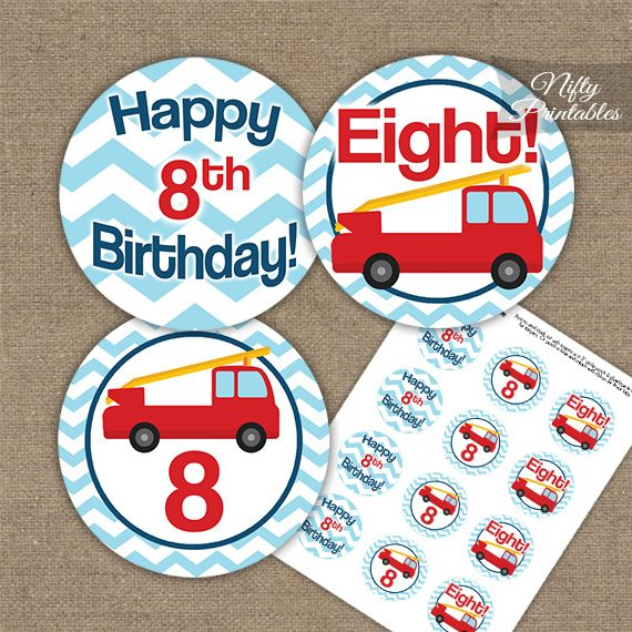 8th Birthday Toppers - Fire Truck Birthday Cupcake Toppers