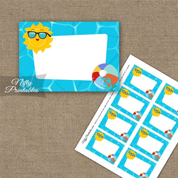 Pool Party Blank Labels