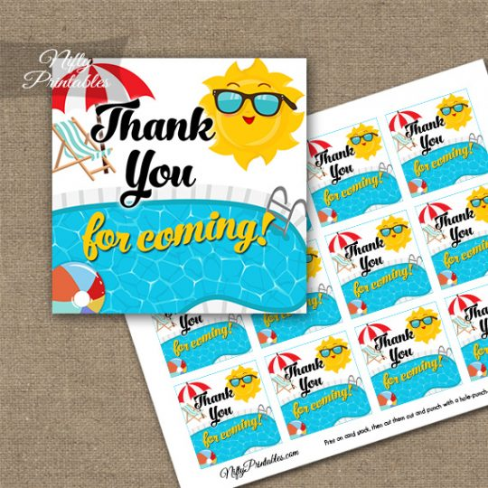 Pool Party Thank You Favor Tags