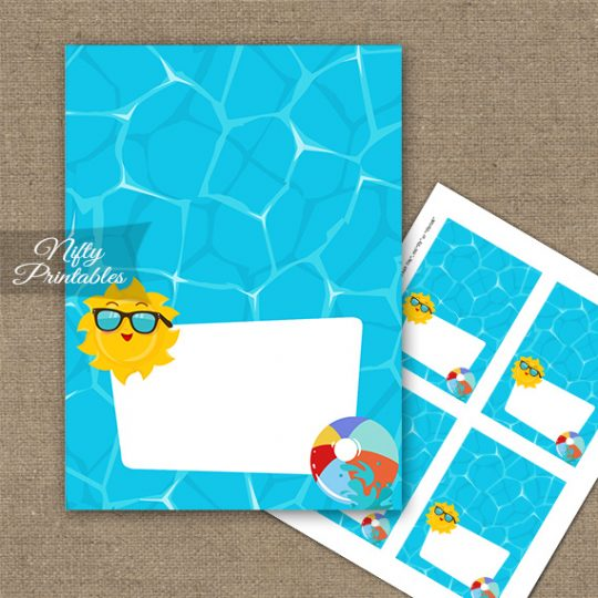 Pool Party Tent Cards - Place Cards