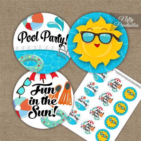 Pool Party Cupcake Toppers Nifty Printables