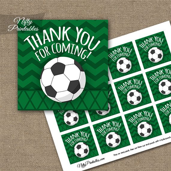 Soccer Birthday Thank You Favor Tags