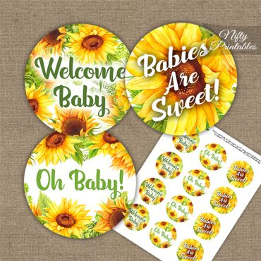 Sunflowers Baby Shower Cupcake Toppers
