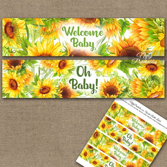 Sunflowers Baby Shower Water Bottle Labels