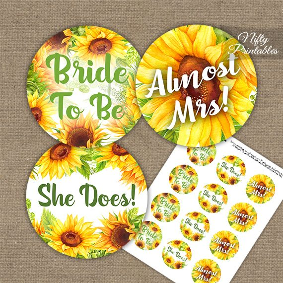 Sunflowers Bridal Shower Cupcake Toppers