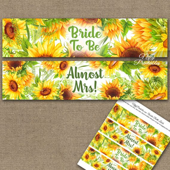Sunflowers Bridal Shower Water Bottle Labels