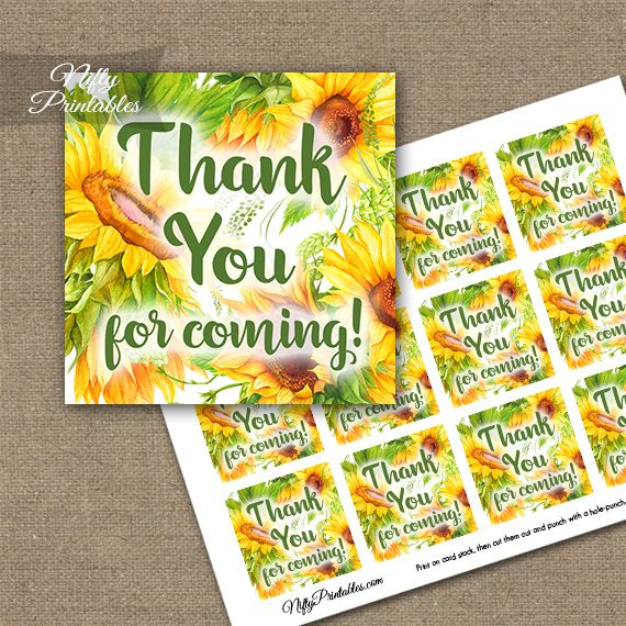 Yellow Sunflowers Thank You Favor Tags