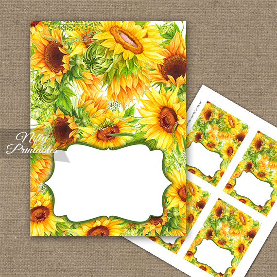 Yellow Sunflowers Tent Cards - Place Cards
