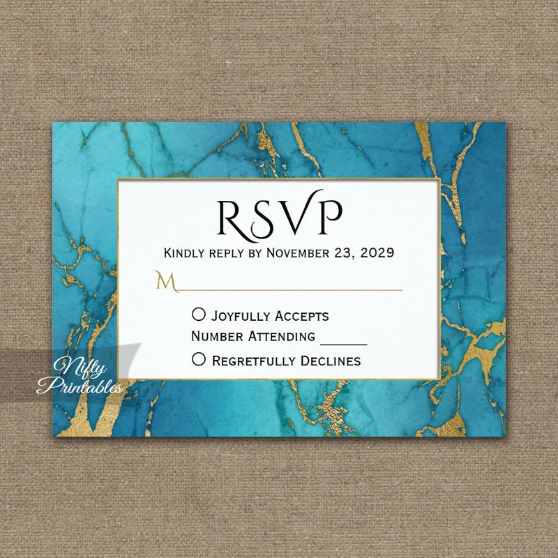 Blue Gold Marble RSVP Card Wedding Response PRINTED