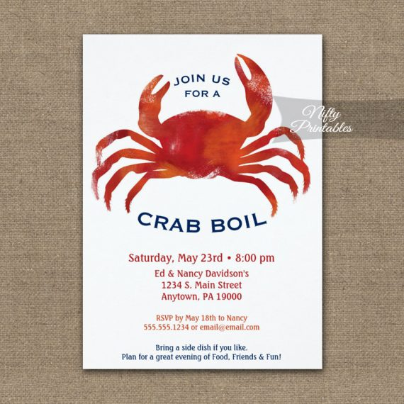 Crab Boil Invitation Low Country PRINTED