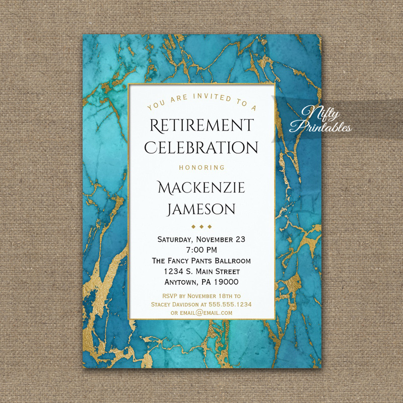Retirement Invitations Blue Gold Marble PRINTED
