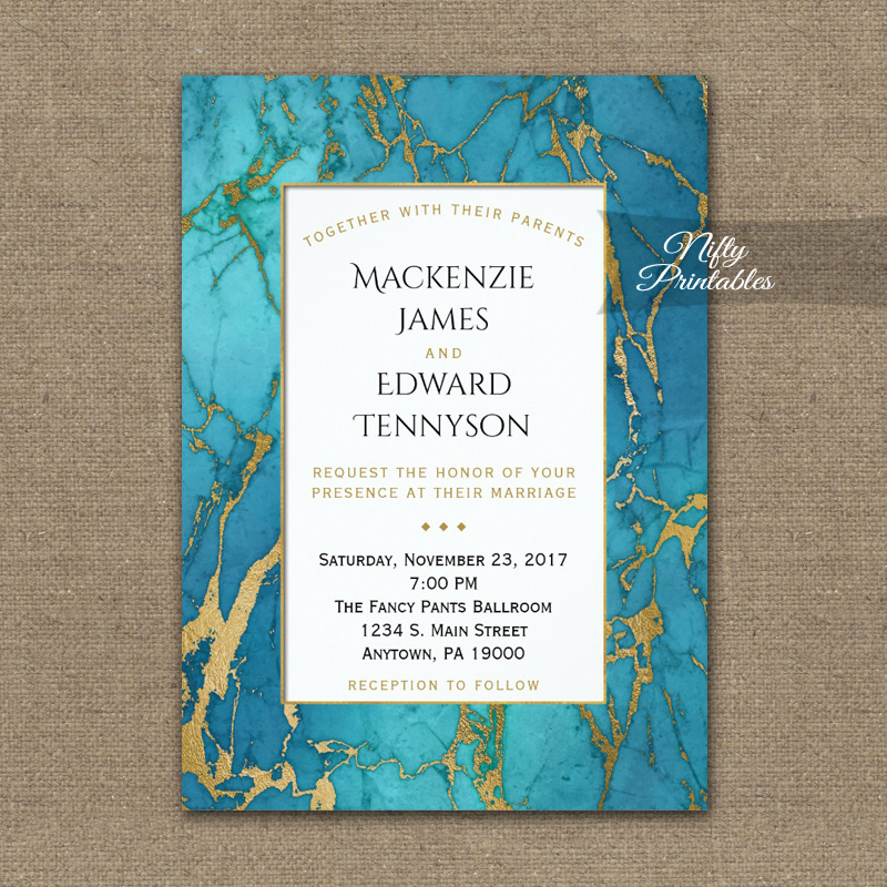 Wedding Invitations Blue Gold Marble PRINTED