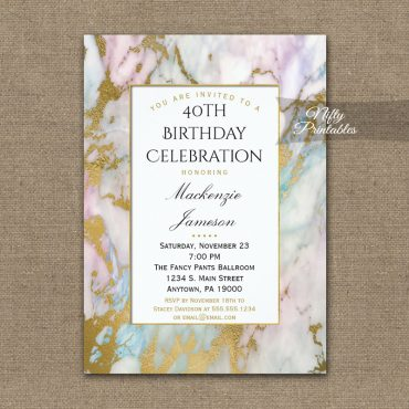 Birthday Invitation Pink Blue Gold Marble PRINTED