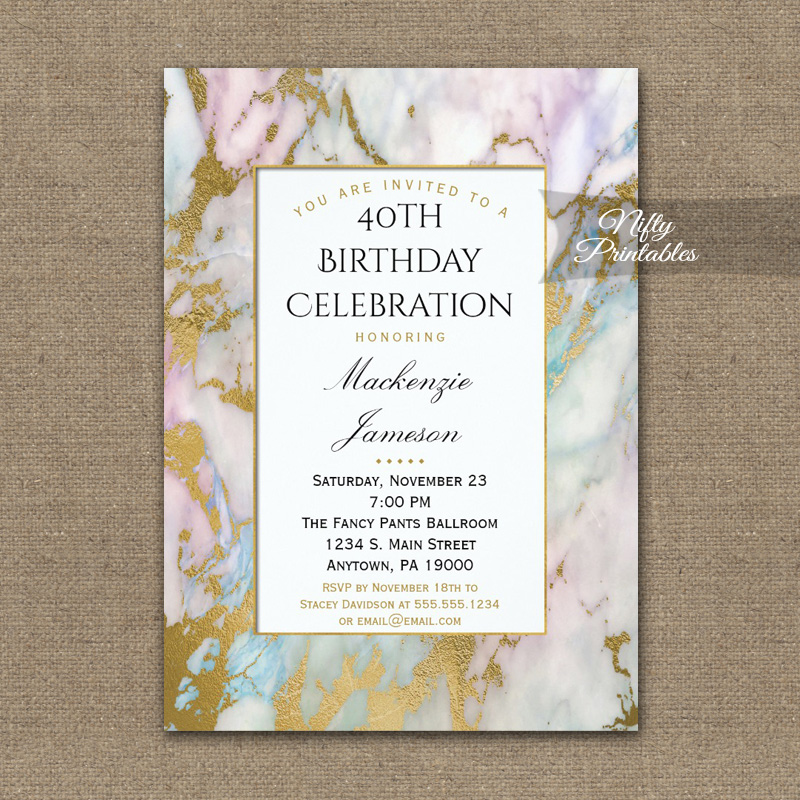 Birthday Invitations Pink Blue Gold Marble PRINTED