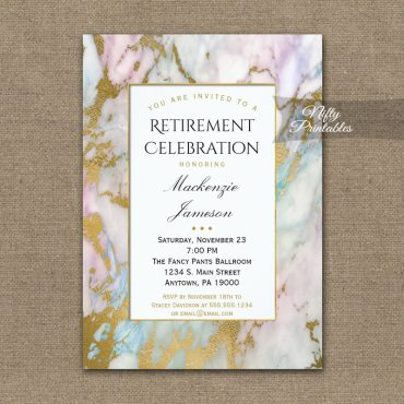 Retirement Invitations Pink Blue Gold Marble PRINTED