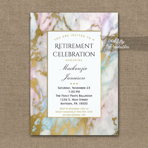 Retirement Invitation Pink Blue Gold Marble PRINTED