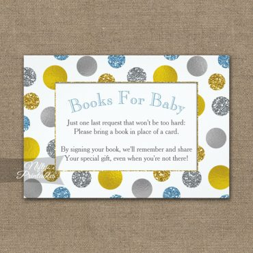 Bring A Book Insert Gold Silver Blue Dots Baby Shower PRINTED