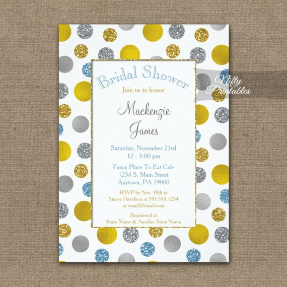 Bridal Shower Invitation Gold Silver Blue Dots PRINTED