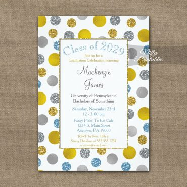 Graduation Invitations Gold Silver Blue Dots PRINTED