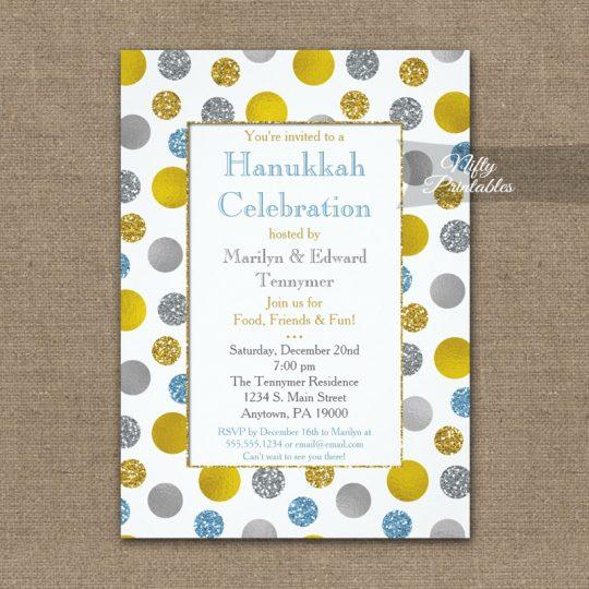 Hanukkah Invitations Gold Silver Blue Dots PRINTED