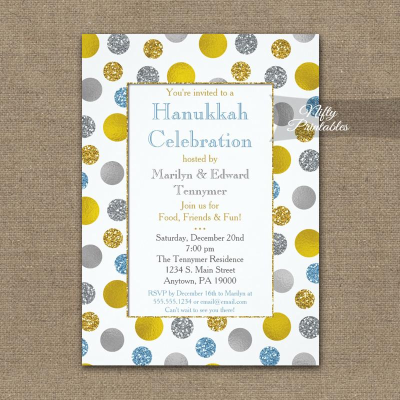 Hanukkah Invitation Gold Silver Blue Dots PRINTED