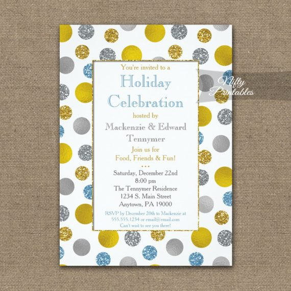 Holiday Christmas Party Invitation Gold Silver Blue Dots PRINTED