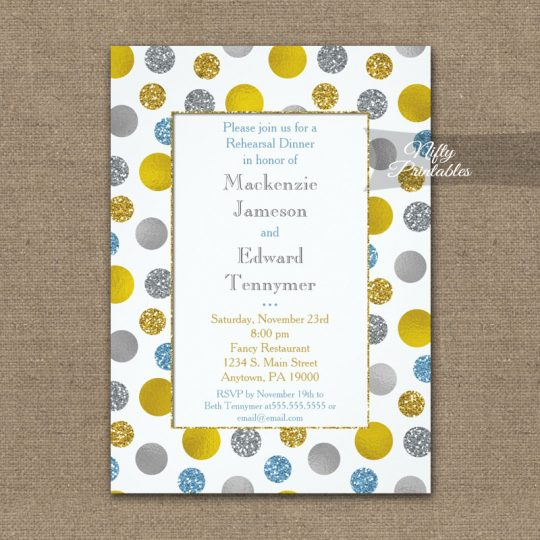 Rehearsal Dinner Invitations Gold Silver Blue Dots PRINTED