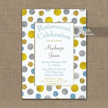 Retirement Invitations Gold Silver Blue Dots PRINTED