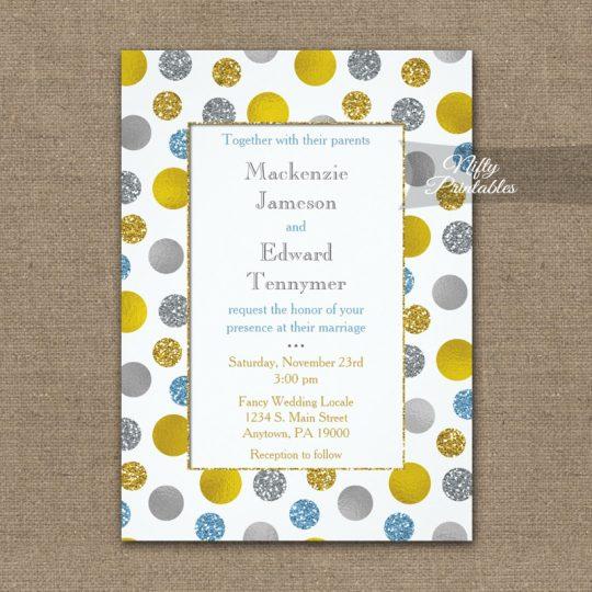 Wedding Invitations Gold Silver Blue Dots PRINTED