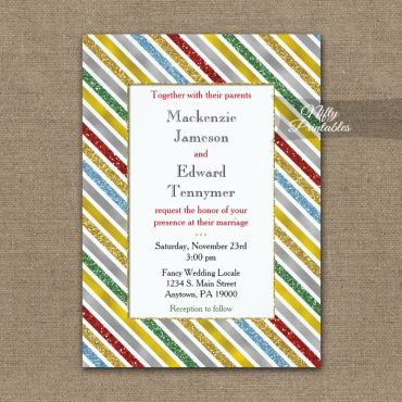 Wedding Invitation Holiday Stripes PRINTED