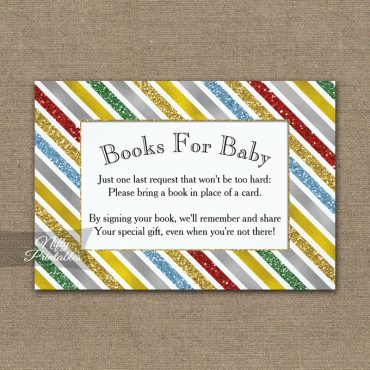 Bring A Book Insert Holiday Stripes Baby Shower PRINTED