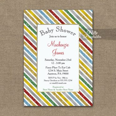 Baby Shower Invitations Holiday Stripes PRINTED
