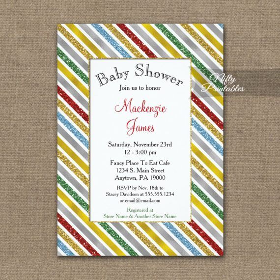 Baby Shower Invitation Holiday Stripes PRINTED