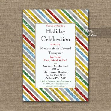 Holiday Christmas Party Invitation Holiday Stripes PRINTED