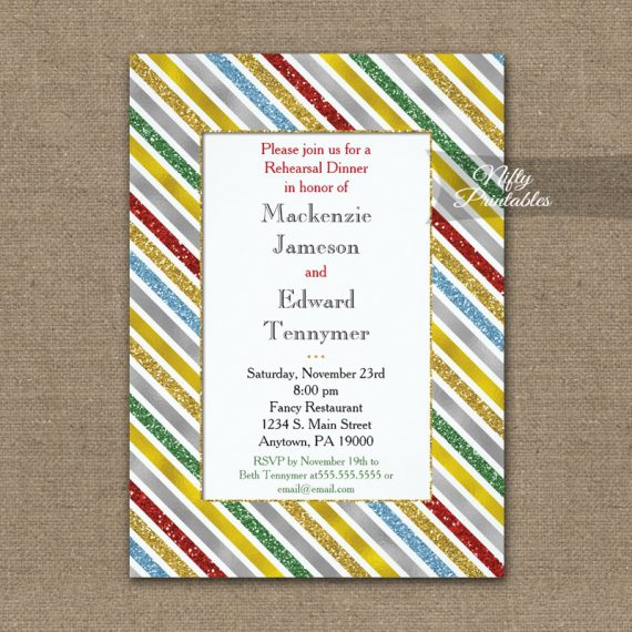 Rehearsal Dinner Invitation Holiday Stripes PRINTED