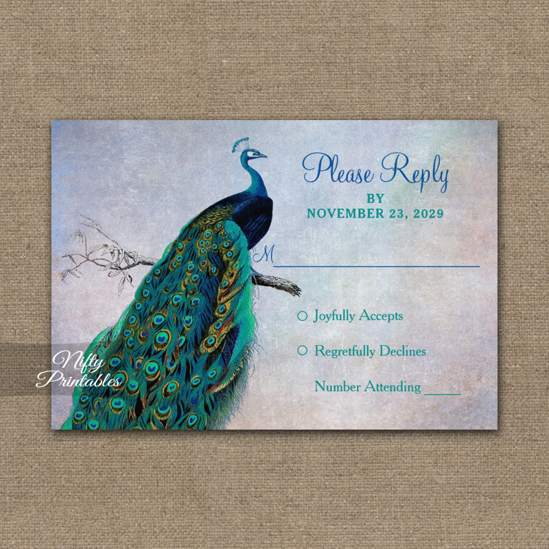 Peacock Blue Turquoise RSVP Card Wedding Response PRINTED