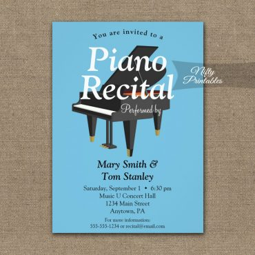 Piano Recital Invitation Blue Grand PRINTED