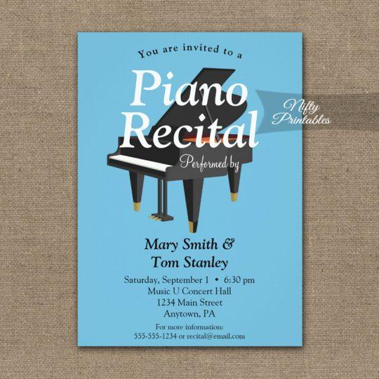 Piano Recital Invitations Blue Grand PRINTED