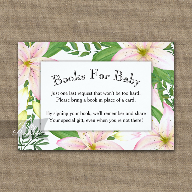 Bring A Book Insert Pink Lilies Baby Shower PRINTED