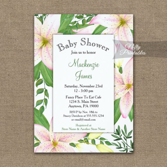 Baby Shower Invitation Pink Lilies PRINTED