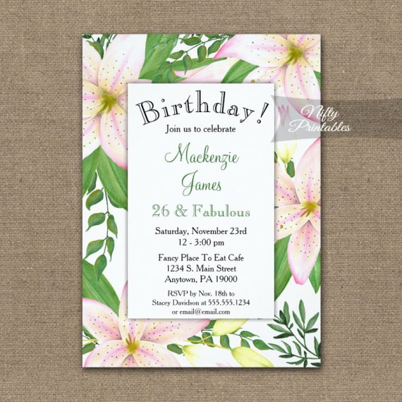 Birthday Invitation Pink Lilies PRINTED