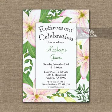 Retirement Invitation Pink Lilies PRINTED