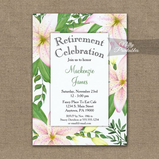 Retirement Invitations Pink Lilies PRINTED